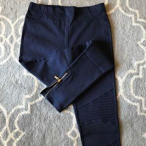 Navy Blue Moto Biker Pants